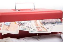 Χρήματα λιρών αγγλίας στο χρηματοκιβώτιο Στοκ Εικόνα