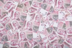 Χρήματα και έννοια πόρων χρηματοδότησης Χίλια σερβικά τραπεζογραμμάτια εθνικού νομίσματος λογαριασμών Δηναρίων στοκ εικόνες