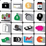 Χρήματα και καθορισμένη απεικόνιση eps10 εικονιδίων χρηματοδότησης Στοκ Εικόνες