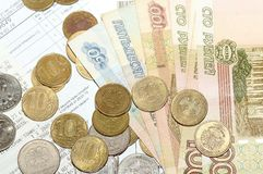 Χρήματα και λογαριασμοί στον πίνακα στοκ φωτογραφία με δικαίωμα ελεύθερης χρήσης