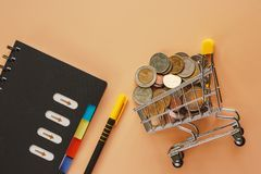 Χρήματα και νομίσματα στο μίνι κάρρο ή το καροτσάκι αγορών με τη σπείρα όχι στοκ φωτογραφίες με δικαίωμα ελεύθερης χρήσης