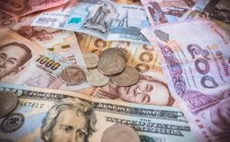 Χρήματα και νομίσματα των διαφορετικών κρατών Στοκ Εικόνα