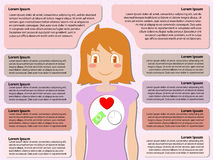 Χρήματα και συγχρονισμός καρδιών μέσα στη γυναίκα με την περιοχή κειμένων δειγμάτων, infographic έννοια Στοκ Φωτογραφία