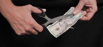 Χρήματα και ψαλίδι για τα χρήματα Στοκ φωτογραφία με δικαίωμα ελεύθερης χρήσης