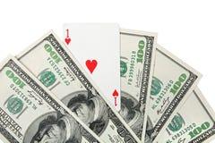 χρήματα καρδιών άσσων Στοκ εικόνες με δικαίωμα ελεύθερης χρήσης