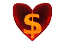 χρήματα καρδιών Στοκ Εικόνα