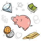Χρήματα κινούμενων σχεδίων doodle Στοκ Εικόνες
