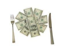 χρήματα μαχαιριών δικράνων Στοκ εικόνες με δικαίωμα ελεύθερης χρήσης