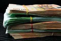 χρήματα μετρητών ευρώ λογαριασμών Ευρο- χρήματα νομίσματος στοκ εικόνα με δικαίωμα ελεύθερης χρήσης