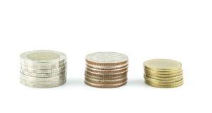 Χρήματα νομισμάτων της Ταϊλάνδης σε ένα άσπρο υπόβαθρο Στοκ φωτογραφία με δικαίωμα ελεύθερης χρήσης