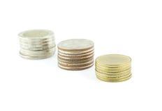 Χρήματα νομισμάτων της Ταϊλάνδης σε ένα άσπρο υπόβαθρο Στοκ Εικόνες