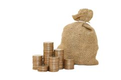 χρήματα νομισμάτων τσαντών Στοκ εικόνα με δικαίωμα ελεύθερης χρήσης