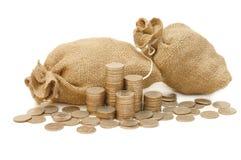 χρήματα νομισμάτων τσαντών Στοκ φωτογραφία με δικαίωμα ελεύθερης χρήσης