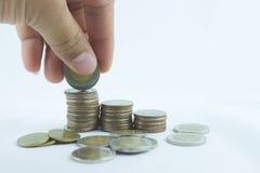 Χρήματα, οικονομική, έννοια επιχειρησιακή αύξησης, αρίθμηση χεριών και η τεθειμένη Mo Στοκ Εικόνα