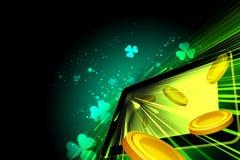 Χρήματα που πέφτουν έξω της οθόνης PC ταμπλετών Στοκ Εικόνα