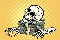 Χρήματα, πλούτος και πλεονεξία δολαρίων κρανίων σκελετών διανυσματική απεικόνιση