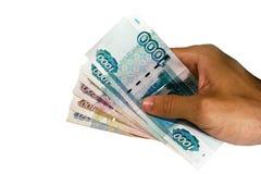 χρήματα ρωσικά εκμετάλλευσης χεριών Στοκ φωτογραφία με δικαίωμα ελεύθερης χρήσης