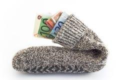 Χρήματα σε μια κάλτσα στοκ φωτογραφία με δικαίωμα ελεύθερης χρήσης