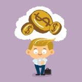 Χρήματα σκέψης επιχειρηματιών Στοκ Φωτογραφία