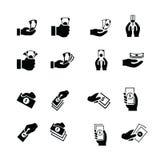 Χρήματα στα εικονίδια χεριών Στοκ Εικόνες