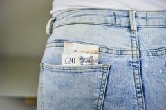 Χρήματα στην τσέπη του Jean Στοκ Εικόνες