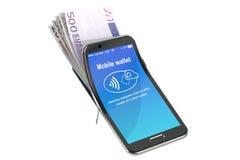 Χρήματα στο κινητό τηλέφωνο, έννοια NFC τρισδιάστατη απόδοση Στοκ φωτογραφία με δικαίωμα ελεύθερης χρήσης