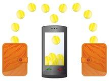 Χρήματα στο κινητό τηλέφωνο Στοκ Εικόνες