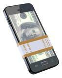Χρήματα στο μαύρο κινητό τηλέφωνο Στοκ φωτογραφία με δικαίωμα ελεύθερης χρήσης