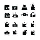 Χρήματα στο πορτοφόλι και το εικονίδιο θέσης Στοκ φωτογραφίες με δικαίωμα ελεύθερης χρήσης