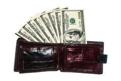 Χρήματα στο πορτοφόλι σας Η επιτυχής εργασία, καλές αποδοχές Στοκ εικόνες με δικαίωμα ελεύθερης χρήσης