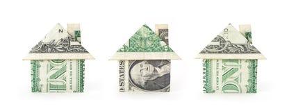 χρήματα τρία σπιτιών στοκ φωτογραφίες