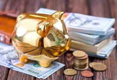χρήματα τραπεζών piggy Στοκ Εικόνες