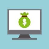 χρήματα τσαντών απομονωμένο σχέδιο εικονιδίων υπολογιστών στο επίδειξη Στοκ Φωτογραφίες