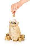 χρήματα χεριών νομισμάτων τσαντών που τίθενται Στοκ φωτογραφία με δικαίωμα ελεύθερης χρήσης