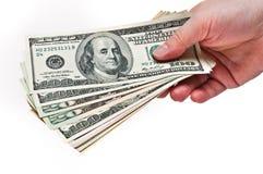 χρήματα χεριών Στοκ Εικόνες