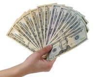 χρήματα χουφτών στοκ φωτογραφίες