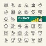 Χρήματα, χρηματοδότηση, στοιχεία πληρωμών - ελάχιστο λεπτό σύνολο εικονιδίων Ιστού γραμμών Συλλογή εικονιδίων περιλήψεων διανυσματική απεικόνιση