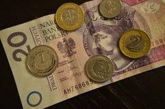 Χρήματα Bill και νομίσματα Πολωνία 20 zÅ '2 zÅ '1 zÅ '10 GR 5 GR 1 GR Στοκ Εικόνα