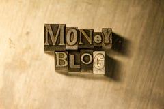 Χρήματα blog - letterpress μετάλλων γράφοντας σημάδι Στοκ εικόνα με δικαίωμα ελεύθερης χρήσης