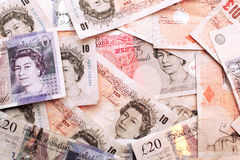 χρήματα UK νομίσματος τραπε&ze Στοκ Φωτογραφία
