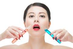 Χρήσης καλλυντικό υγρό φαρμάκων χημείας κατανάλωσης makeup ίσο Στοκ φωτογραφία με δικαίωμα ελεύθερης χρήσης