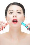 Χρήσης καλλυντικό υγρό φαρμάκων χημείας κατανάλωσης makeup ίσο Στοκ Φωτογραφία