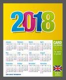 Χρήσιμο Two-sided ημερολόγιο 2018 καρτών για το πορτοφόλι ή τσέπη στο πλήρες χρώμα Μέγεθος: 90mm X 55mm απεικόνιση αποθεμάτων