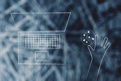 Χρήστης lap-top με το μπισκότο δίπλα στη συσκευή του Στοκ Φωτογραφίες