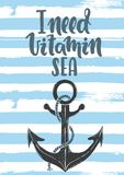 Χρειάζομαι τη θάλασσα βιταμινών Στοκ εικόνα με δικαίωμα ελεύθερης χρήσης