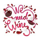 Χρειαζόμαστε το κρασί με την τρισδιάστατη απόδοση πηγών κρυστάλλου Στοκ Εικόνα