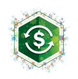 Χρημάτων ανταλλαγής δολαρίων σημαδιών πράσινο hexagon κουμπί σχεδίων εγκαταστάσεων εικονιδίων floral διανυσματική απεικόνιση