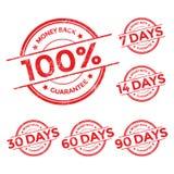 Χρημάτων πίσω σύνολο γραμματοσήμων εγγύησης κόκκινο Στοκ φωτογραφία με δικαίωμα ελεύθερης χρήσης