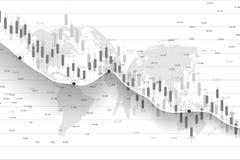 Χρηματιστήριο και ανταλλαγή Διάγραμμα γραφικών παραστάσεων ραβδιών επιχειρησιακών κεριών των εμπορικών συναλλαγών επένδυσης χρημα απεικόνιση αποθεμάτων