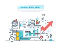 Χρηματιστικό χρηματιστήριο Κεφαλαιαγορές, εμπορικές συναλλαγές, ηλεκτρονικό εμπόριο, επενδύσεις, χρηματοδότηση διανυσματική απεικόνιση